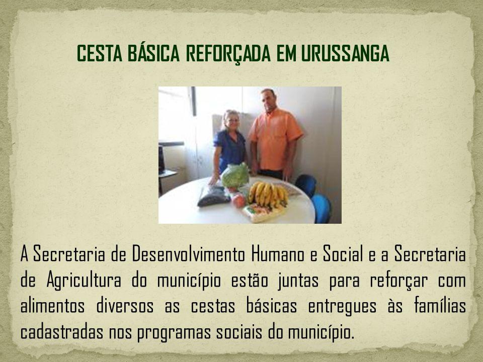 CESTA BÁSICA REFORÇADA EM URUSSANGA A Secretaria de Desenvolvimento Humano e Social e a Secretaria de Agricultura do município estão juntas para refor