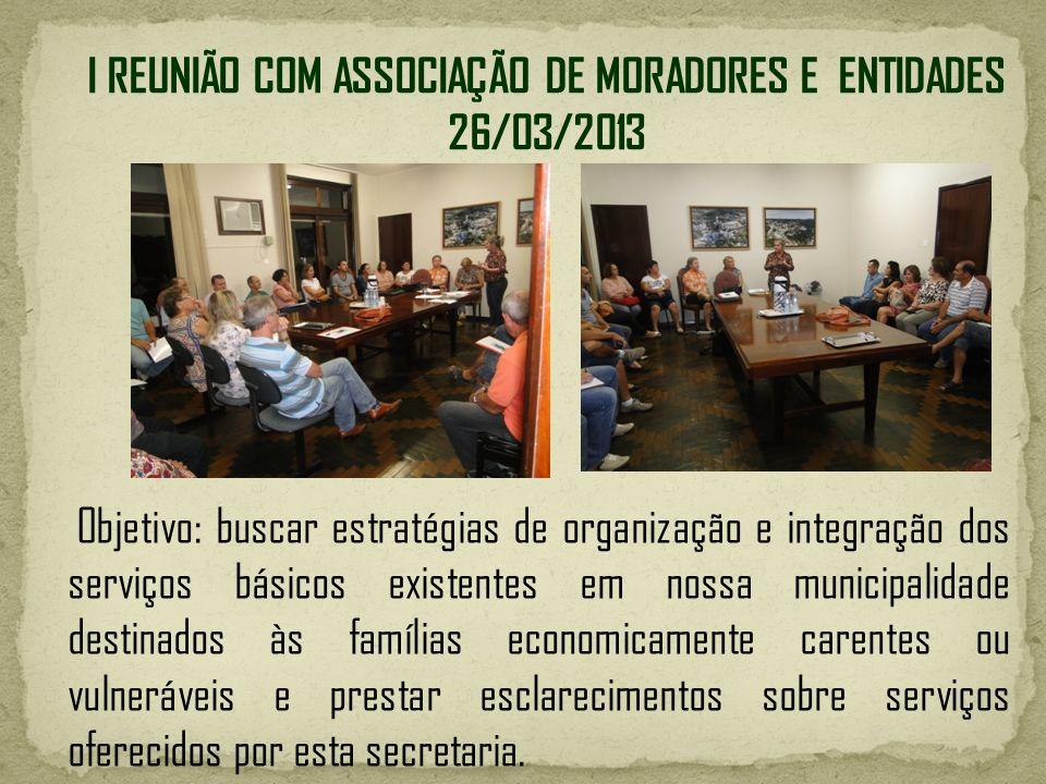 Objetivo: buscar estratégias de organização e integração dos serviços básicos existentes em nossa municipalidade destinados às famílias economicamente