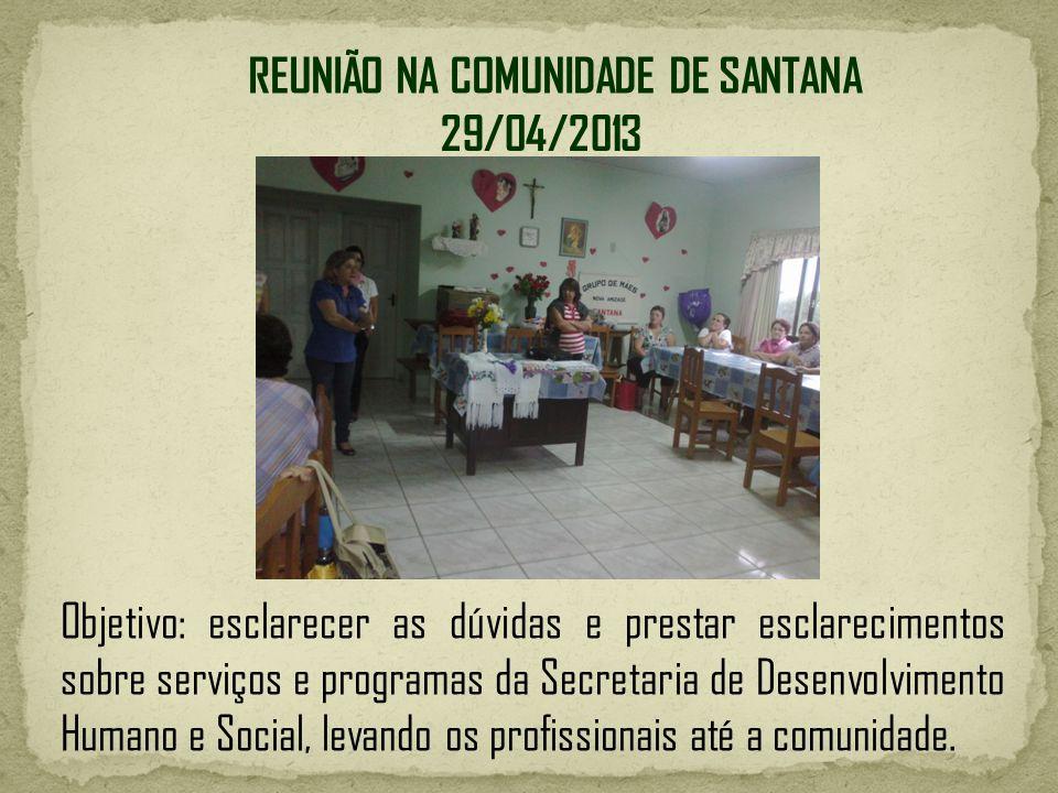 REUNIÃO NA COMUNIDADE DE SANTANA Objetivo: esclarecer as dúvidas e prestar esclarecimentos sobre serviços e programas da Secretaria de Desenvolvimento