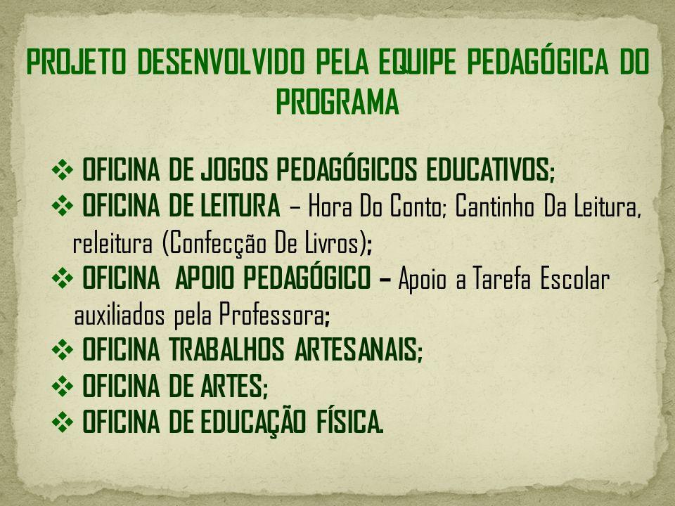 PROJETO DESENVOLVIDO PELA EQUIPE PEDAGÓGICA DO PROGRAMA OFICINA DE JOGOS PEDAGÓGICOS EDUCATIVOS; OFICINA DE LEITURA – Hora Do Conto; Cantinho Da Leitu