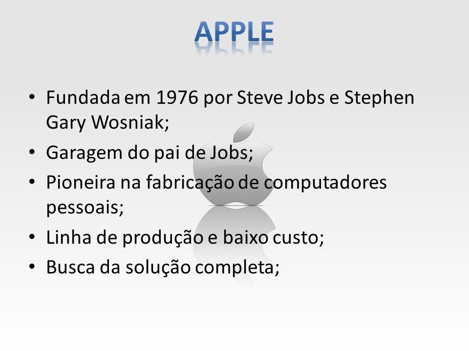 Fundada em 1976 por Steve Jobs e Stephen Gary Wosniak; Garagem do pai de Jobs; Pioneira na fabricação de computadores pessoais; Linha de produção e ba