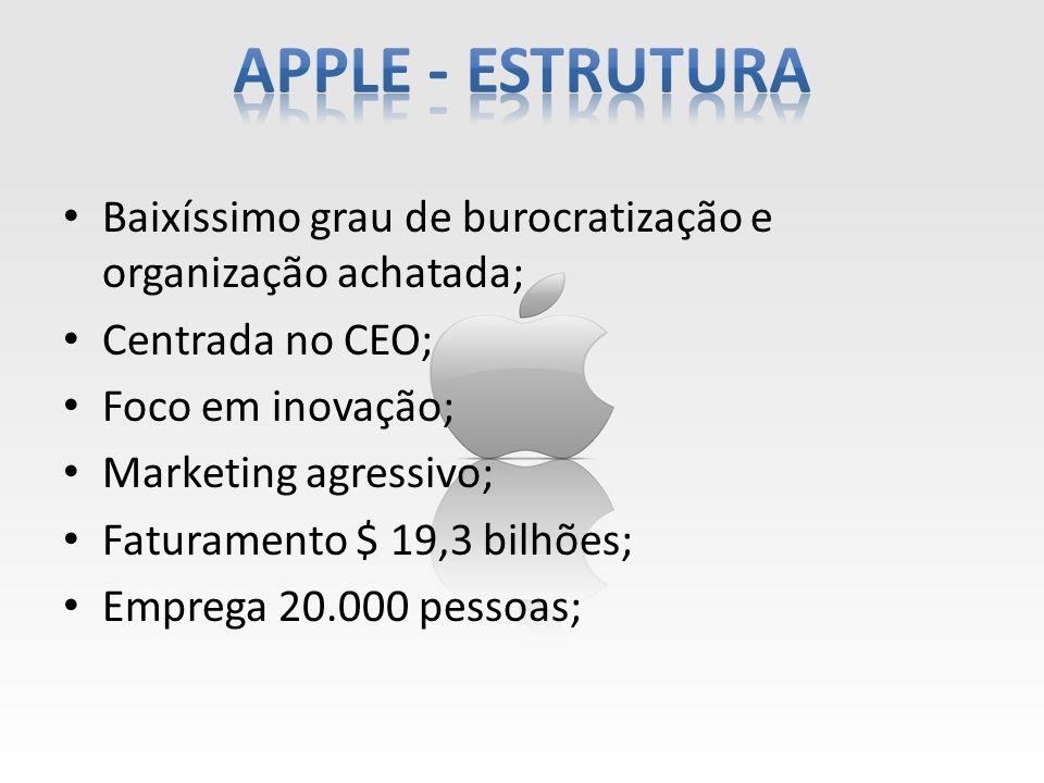 Baixíssimo grau de burocratização e organização achatada; Centrada no CEO; Foco em inovação; Marketing agressivo; Faturamento $ 19,3 bilhões; Emprega