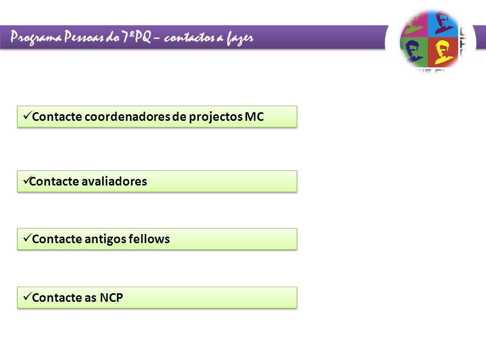 Programa Pessoas do 7ºPQ – contactos a fazer Contacte coordenadores de projectos MC Contacte avaliadores Contacte as NCP Contacte antigos fellows
