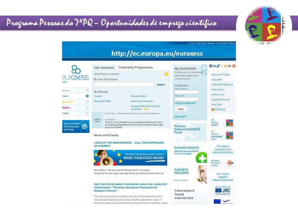 Programa Pessoas do 7ºPQ – Oportunidades de emprego cientifico http://ec.europa.eu/euraxess