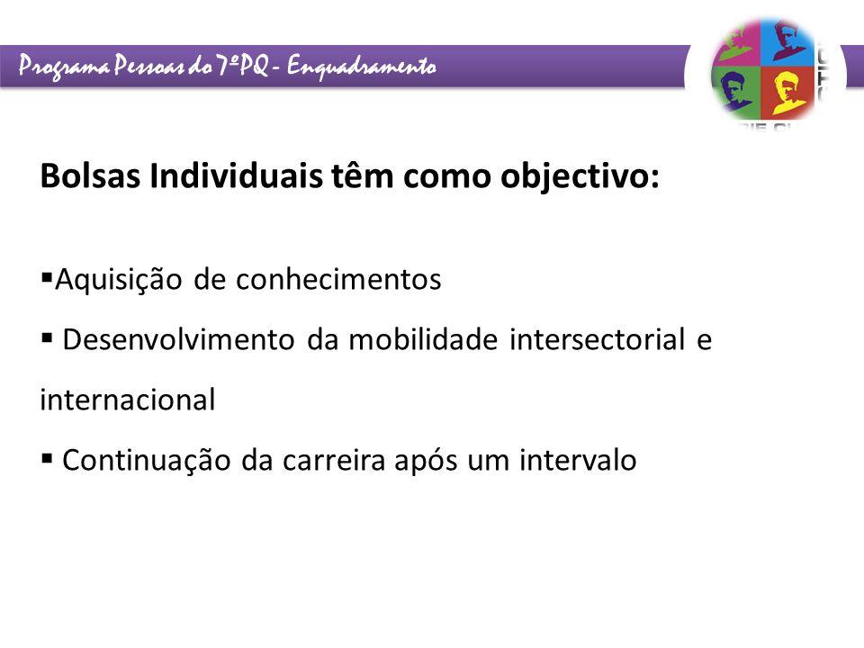 Programa Pessoas do 7ºPQ - Enquadramento Bolsas Individuais têm como objectivo: Aquisição de conhecimentos Desenvolvimento da mobilidade intersectoria