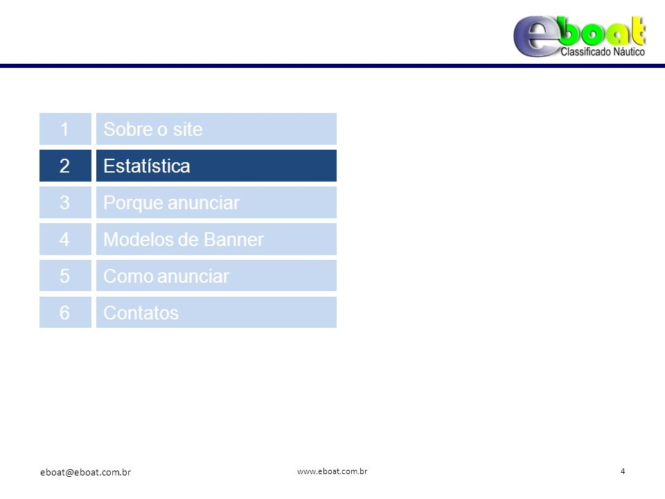 Possui cobertura nacional com maior visibilidade no sudeste e sul do Brasil www.eboat.com.br 2.