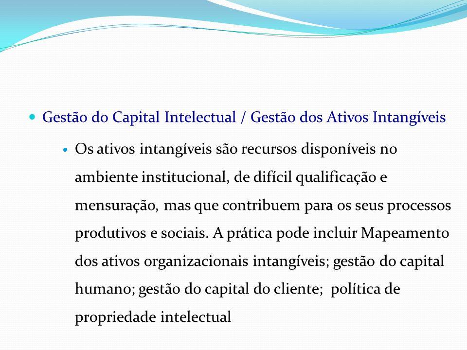 Gestão do Capital Intelectual / Gestão dos Ativos Intangíveis Os ativos intangíveis são recursos disponíveis no ambiente institucional, de difícil qua