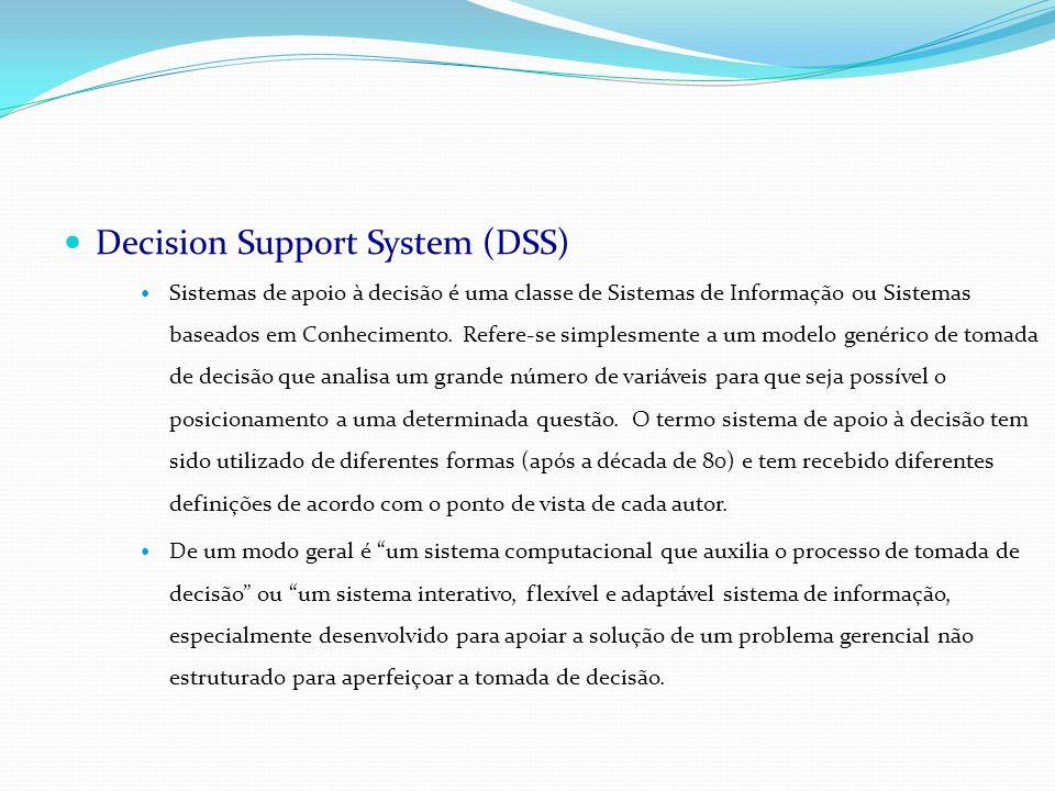 Decision Support System (DSS) Sistemas de apoio à decisão é uma classe de Sistemas de Informação ou Sistemas baseados em Conhecimento. Refere-se simpl