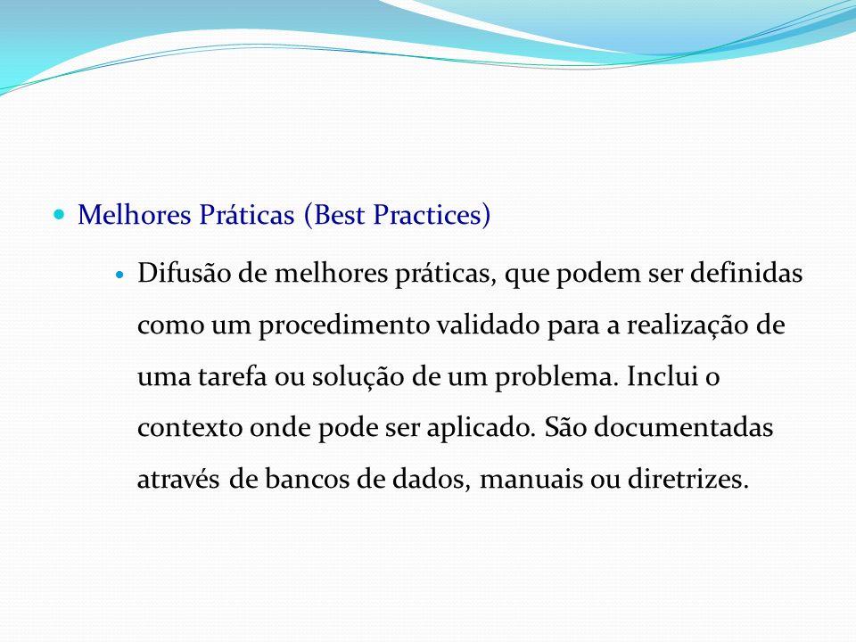Melhores Práticas (Best Practices) Difusão de melhores práticas, que podem ser definidas como um procedimento validado para a realização de uma tarefa