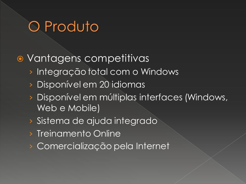 Vantagens competitivas Integração total com o Windows Disponível em 20 idiomas Disponível em múltiplas interfaces (Windows, Web e Mobile) Sistema de a