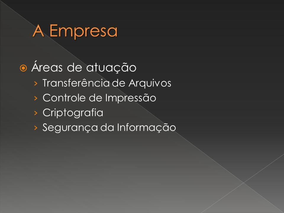 Áreas de atuação Transferência de Arquivos Controle de Impressão Criptografia Segurança da Informação