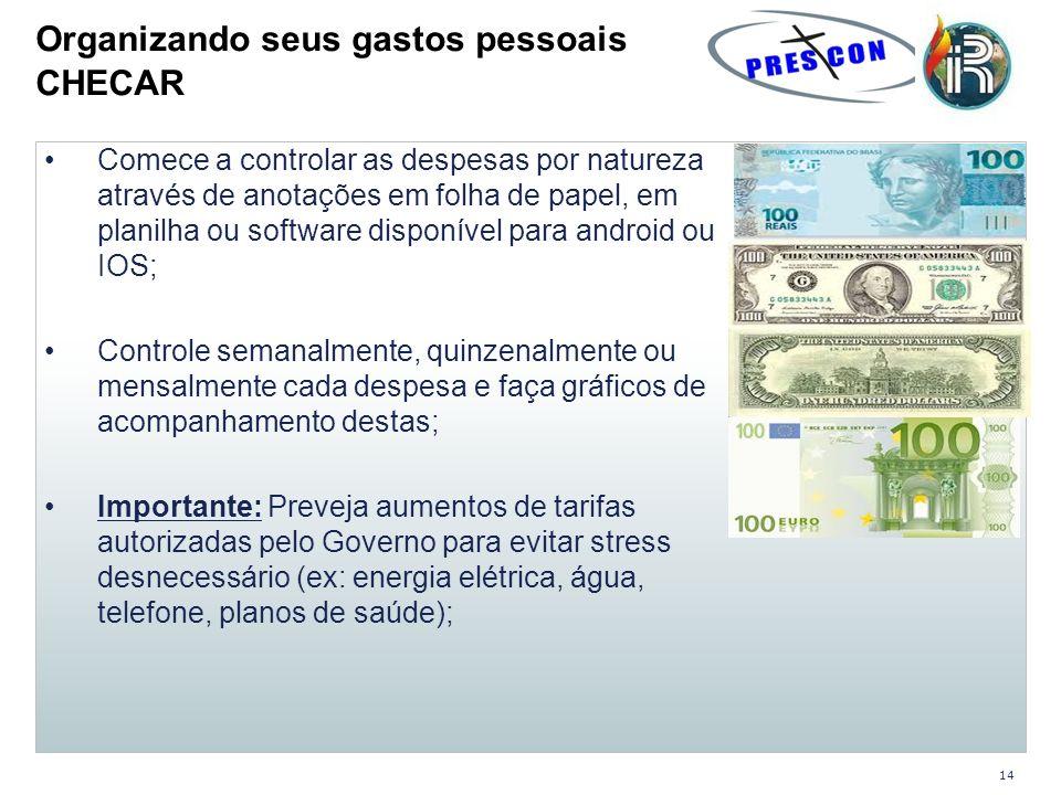 Comece a controlar as despesas por natureza através de anotações em folha de papel, em planilha ou software disponível para android ou IOS; Controle s