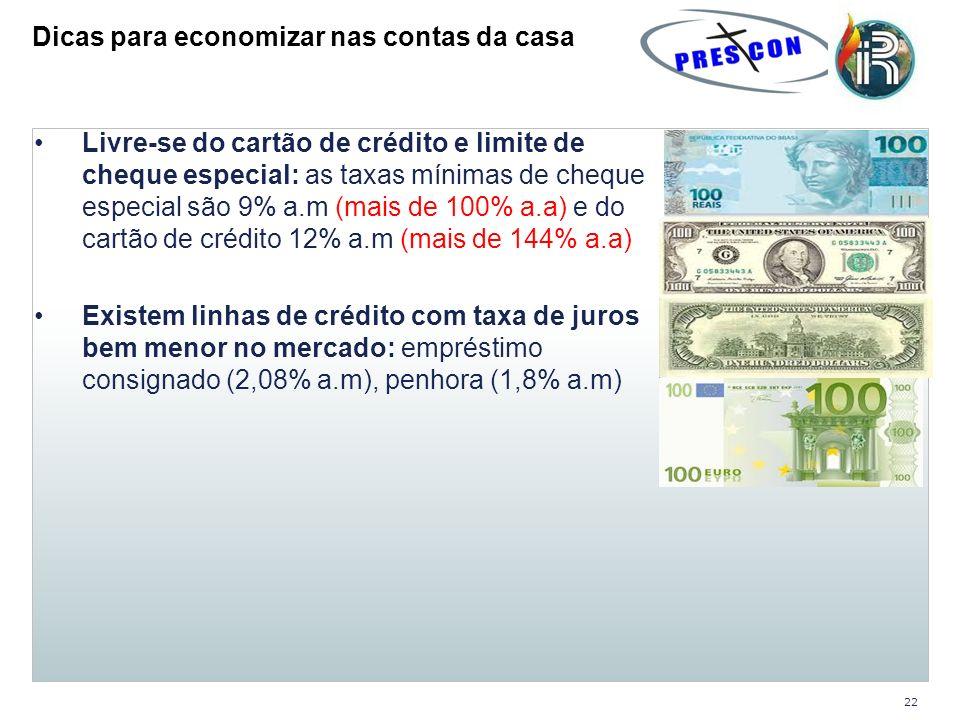 Livre-se do cartão de crédito e limite de cheque especial: as taxas mínimas de cheque especial são 9% a.m (mais de 100% a.a) e do cartão de crédito 12