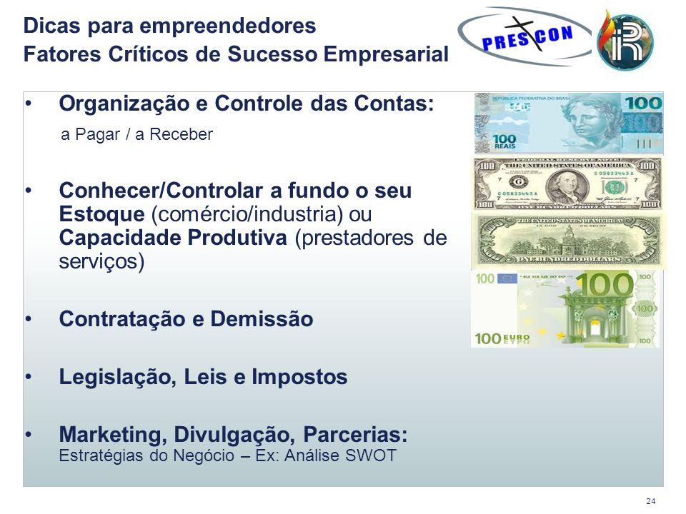 Organização e Controle das Contas: a Pagar / a Receber Conhecer/Controlar a fundo o seu Estoque (comércio/industria) ou Capacidade Produtiva (prestado
