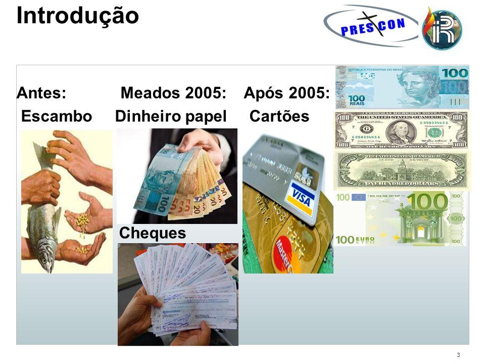 3 Introdução Antes: Meados 2005: Após 2005: Escambo Dinheiro papel Cartões Cheques