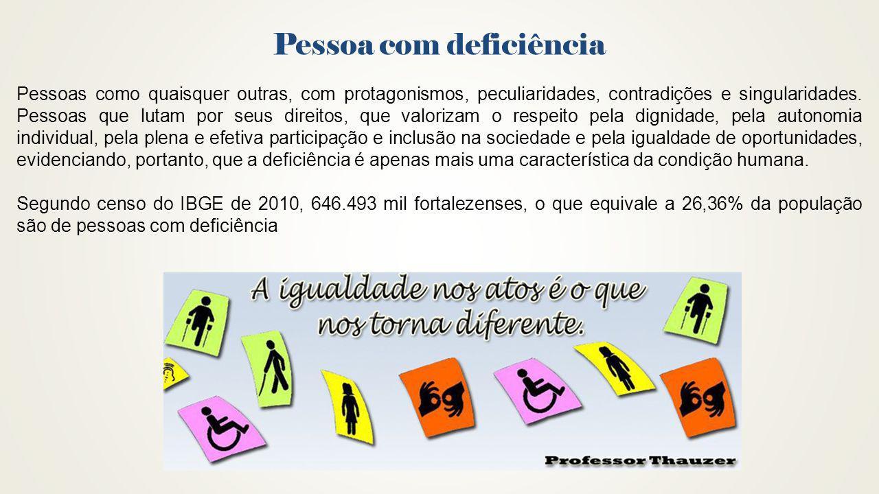 Pessoa com deficiência Pessoas como quaisquer outras, com protagonismos, peculiaridades, contradições e singularidades. Pessoas que lutam por seus dir