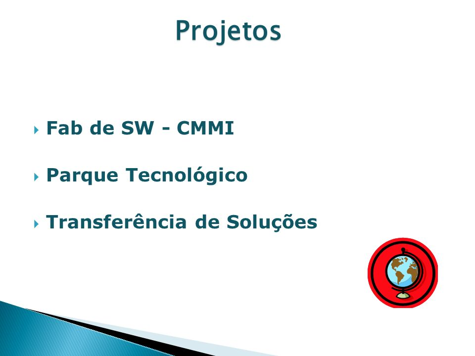 Fab de SW - CMMI Parque Tecnológico Transferência de Soluções Projetos Projetos