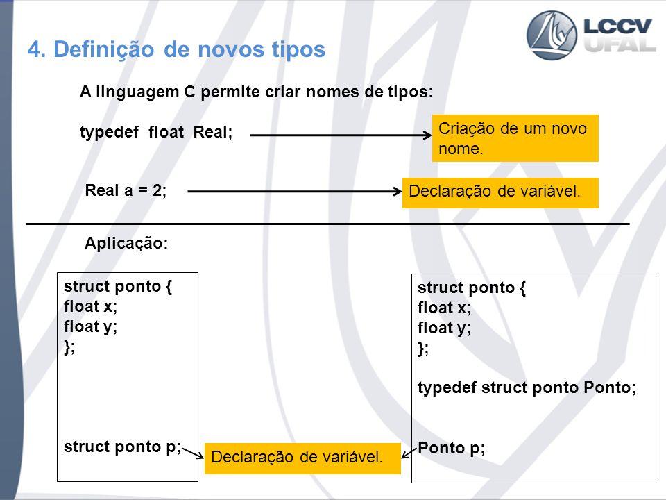 4. Definição de novos tipos A linguagem C permite criar nomes de tipos: typedef float Real; Criação de um novo nome. Declaração de variável. Real a =