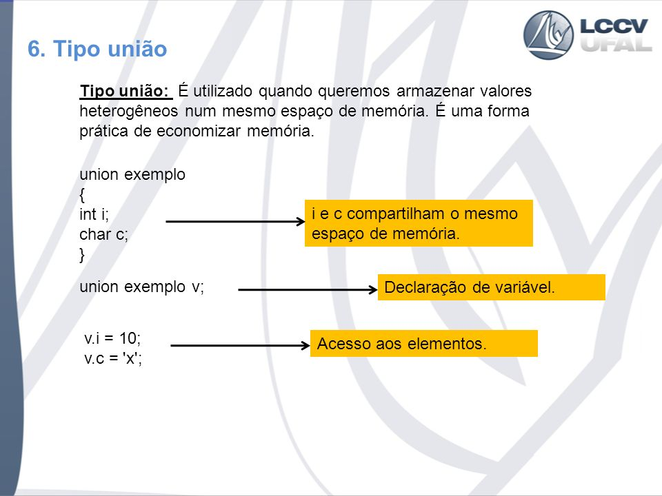 7.Tipo enumeração Tipo união: Os tipos de enumeração são representados internamente por inteiros.