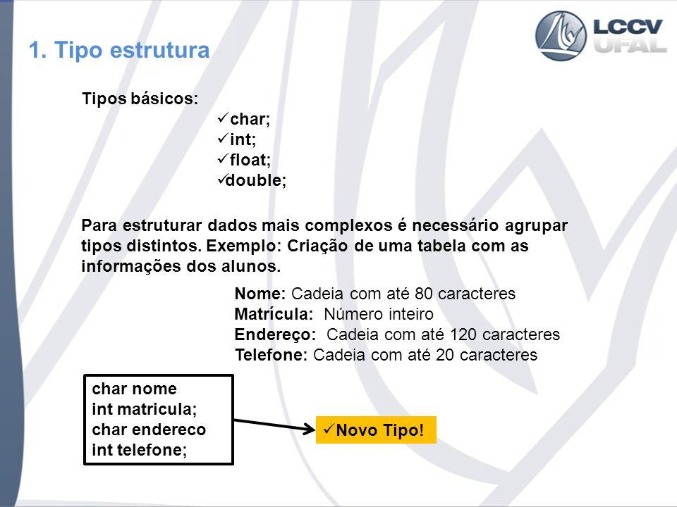1. Tipo estrutura Tipos básicos: char; int; float; double; Nome: Cadeia com até 80 caracteres Matrícula: Número inteiro Endereço: Cadeia com até 120 c
