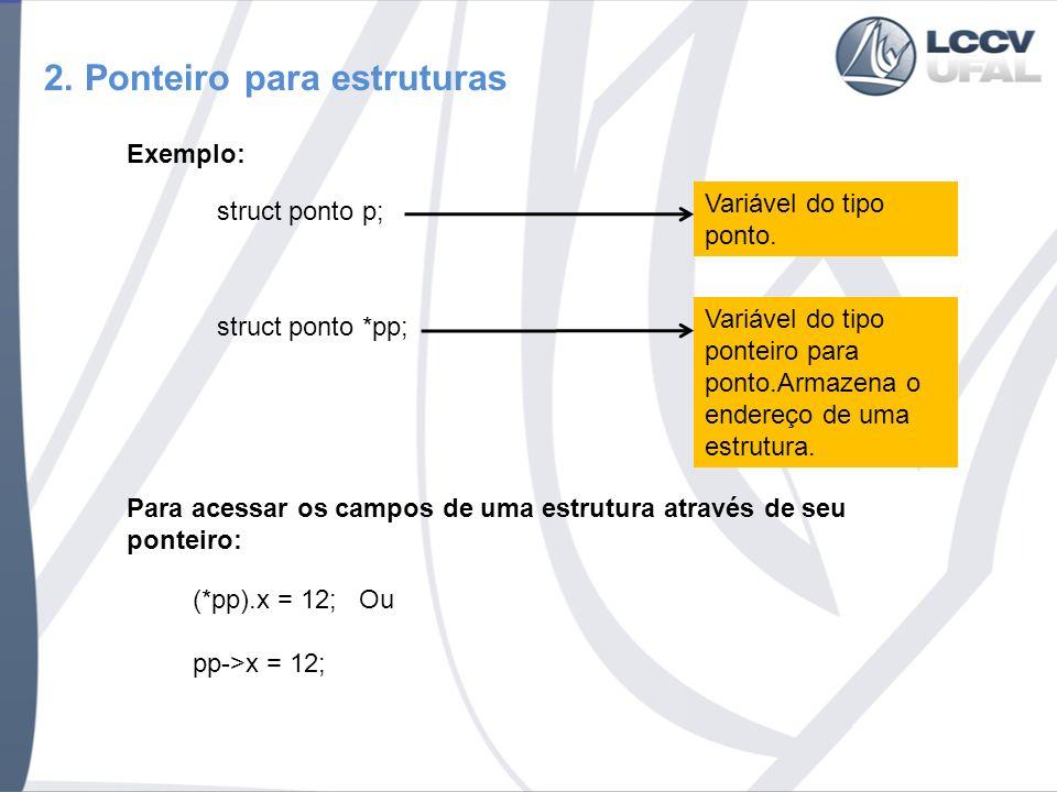 2. Ponteiro para estruturas Exemplo: struct ponto p; Variável do tipo ponto.