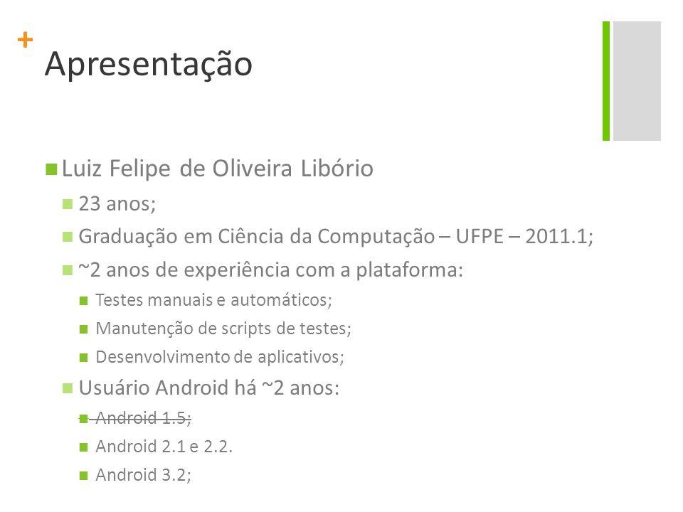 + Apresentação Luiz Felipe de Oliveira Libório 23 anos; Graduação em Ciência da Computação – UFPE – 2011.1; ~2 anos de experiência com a plataforma: T