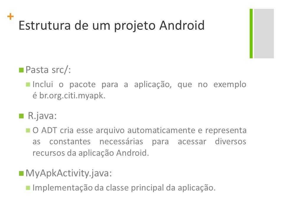 + Pasta src/: Inclui o pacote para a aplicação, que no exemplo é br.org.citi.myapk. R.java: O ADT cria esse arquivo automaticamente e representa as co