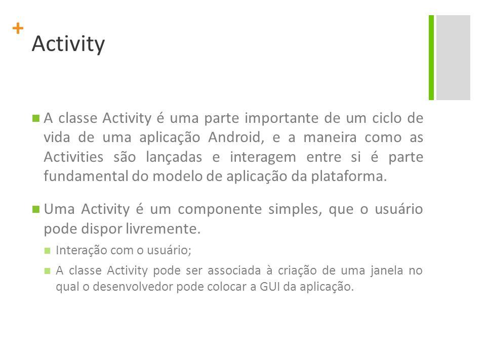 + Activity A classe Activity é uma parte importante de um ciclo de vida de uma aplicação Android, e a maneira como as Activities são lançadas e intera