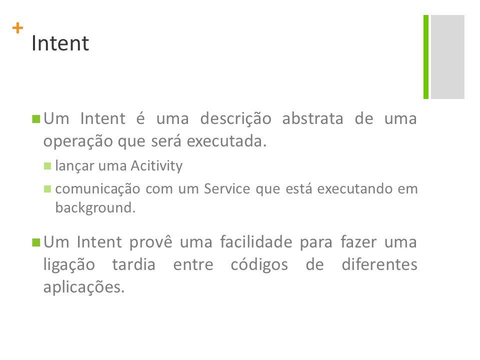 + Intent Um Intent é uma descrição abstrata de uma operação que será executada. lançar uma Acitivity comunicação com um Service que está executando em
