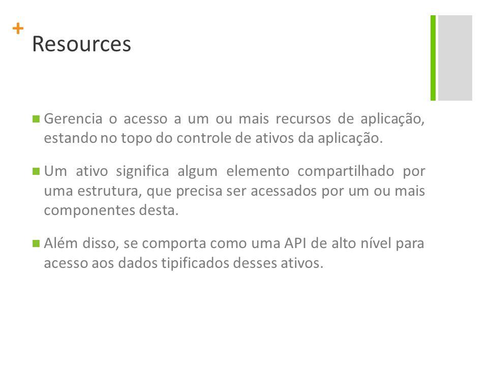 + Resources Gerencia o acesso a um ou mais recursos de aplicação, estando no topo do controle de ativos da aplicação. Um ativo significa algum element