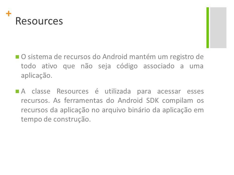 + Resources O sistema de recursos do Android mantém um registro de todo ativo que não seja código associado a uma aplicação. A classe Resources é util