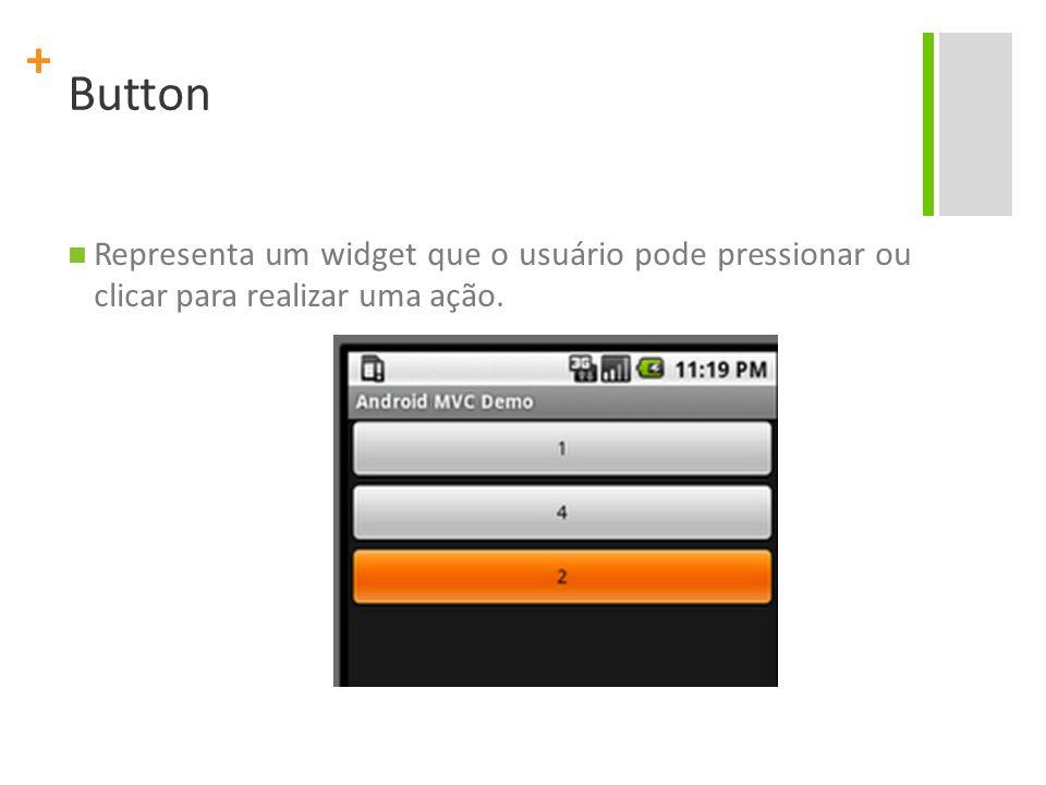 + Button Representa um widget que o usuário pode pressionar ou clicar para realizar uma ação.