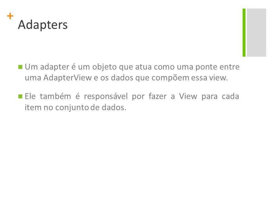 + Adapters Um adapter é um objeto que atua como uma ponte entre uma AdapterView e os dados que compõem essa view. Ele também é responsável por fazer a