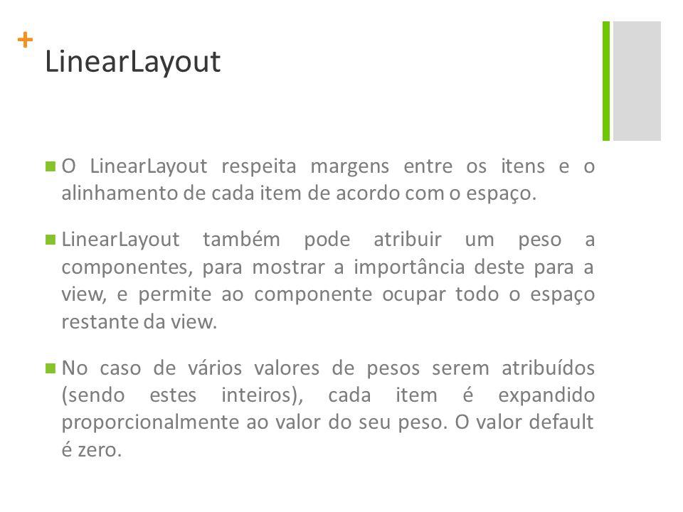 + LinearLayout O LinearLayout respeita margens entre os itens e o alinhamento de cada item de acordo com o espaço. LinearLayout também pode atribuir u