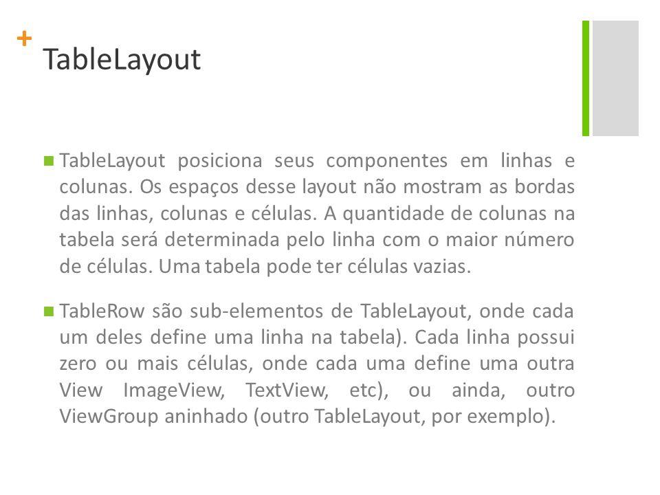 + TableLayout TableLayout posiciona seus componentes em linhas e colunas. Os espaços desse layout não mostram as bordas das linhas, colunas e células.