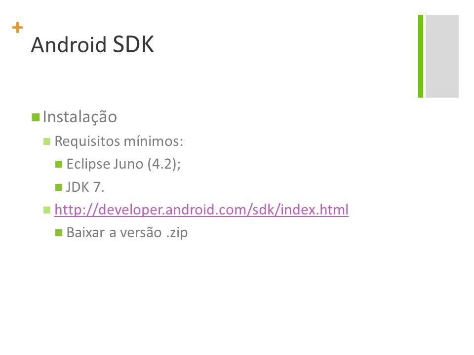 + Android SDK Instalação Requisitos mínimos: Eclipse Juno (4.2); JDK 7. http://developer.android.com/sdk/index.html Baixar a versão.zip