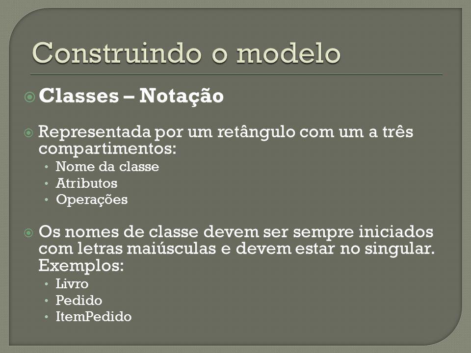 Classes – Notação Representada por um retângulo com um a três compartimentos: Nome da classe Atributos Operações Os nomes de classe devem ser sempre iniciados com letras maiúsculas e devem estar no singular.