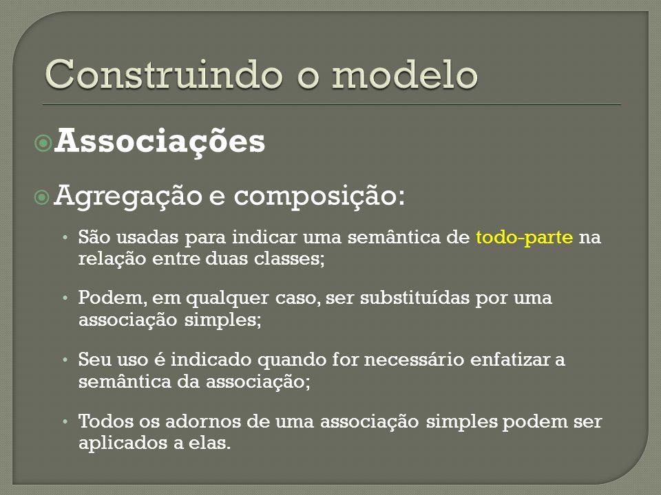 Associações Agregação e composição: São usadas para indicar uma semântica de todo-parte na relação entre duas classes; Podem, em qualquer caso, ser su