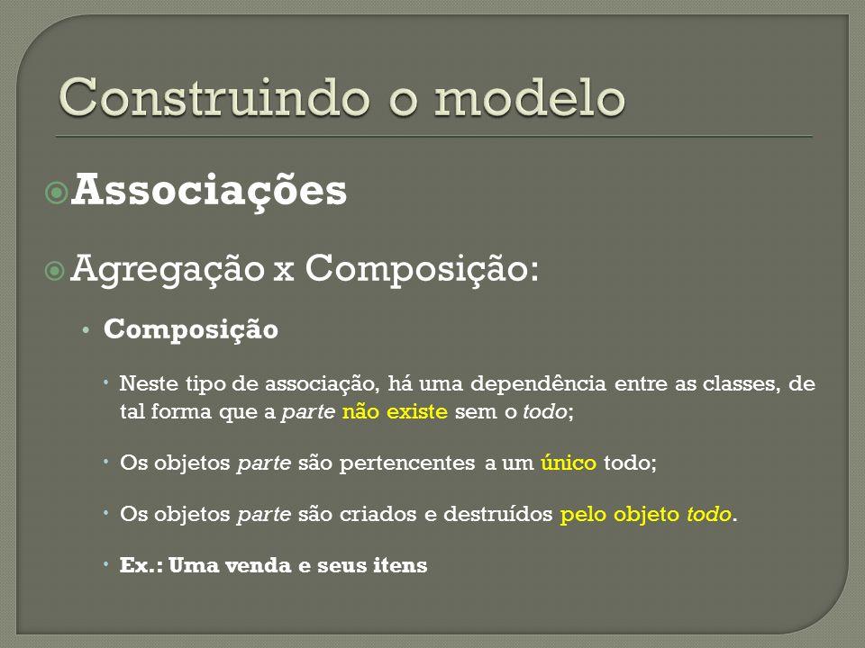 Associações Agregação x Composição: Composição Neste tipo de associação, há uma dependência entre as classes, de tal forma que a parte não existe sem