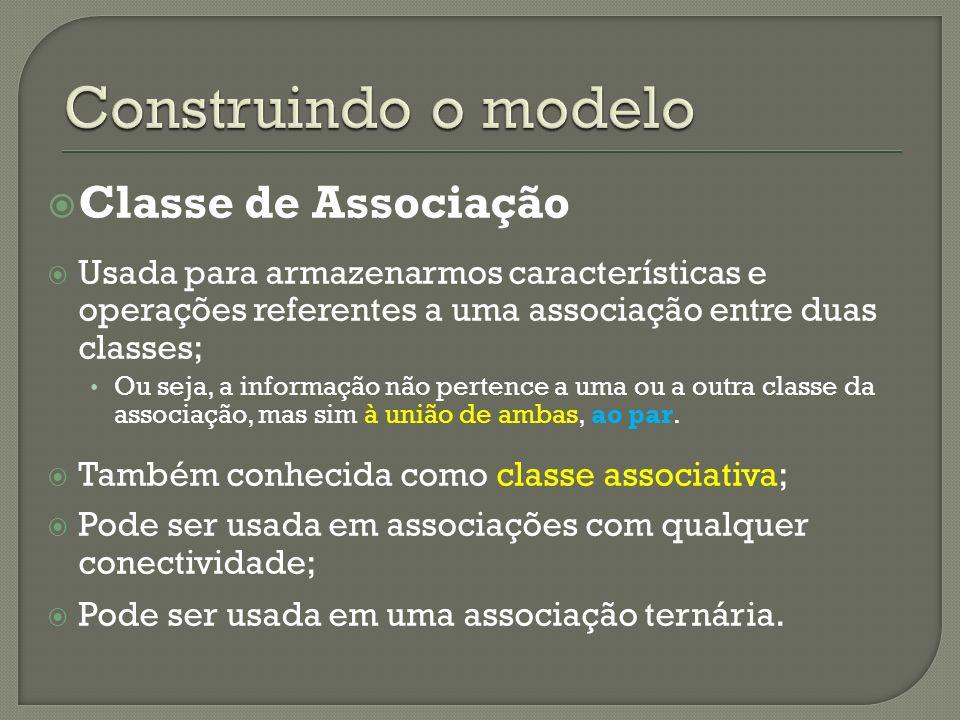 Classe de Associação Usada para armazenarmos características e operações referentes a uma associação entre duas classes; Ou seja, a informação não pertence a uma ou a outra classe da associação, mas sim à união de ambas, ao par.