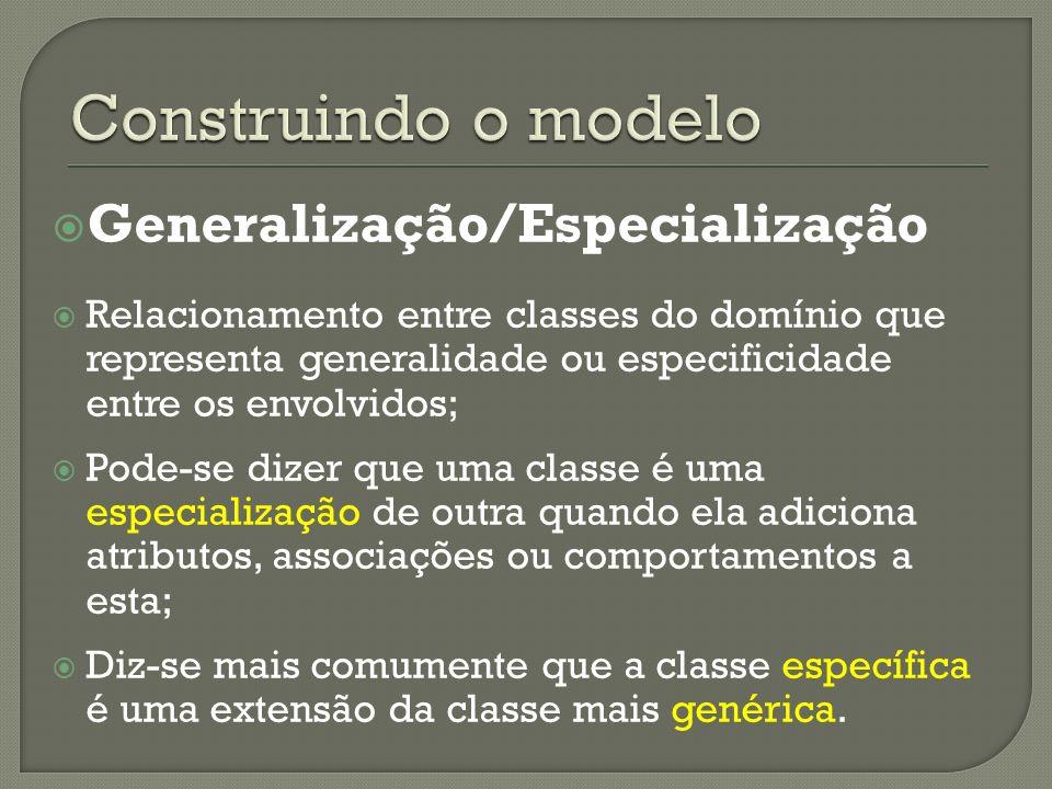 Generalização/Especialização Relacionamento entre classes do domínio que representa generalidade ou especificidade entre os envolvidos; Pode-se dizer que uma classe é uma especialização de outra quando ela adiciona atributos, associações ou comportamentos a esta; Diz-se mais comumente que a classe específica é uma extensão da classe mais genérica.