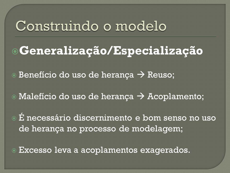 Generalização/Especialização Benefício do uso de herança Reuso; Malefício do uso de herança Acoplamento; É necessário discernimento e bom senso no uso