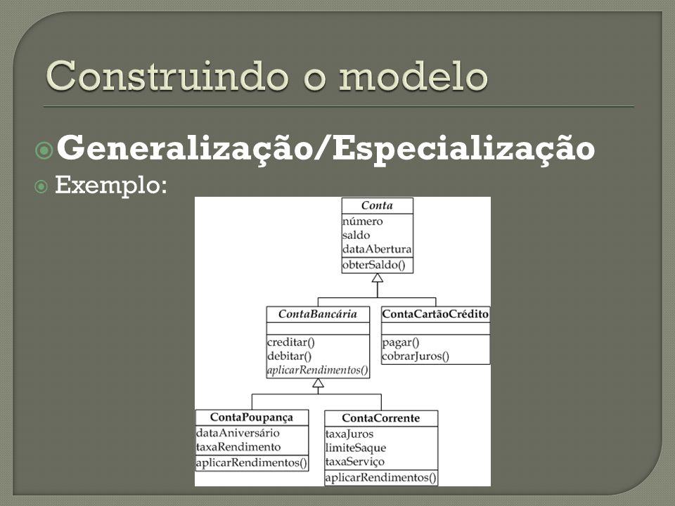 Generalização/Especialização Exemplo: