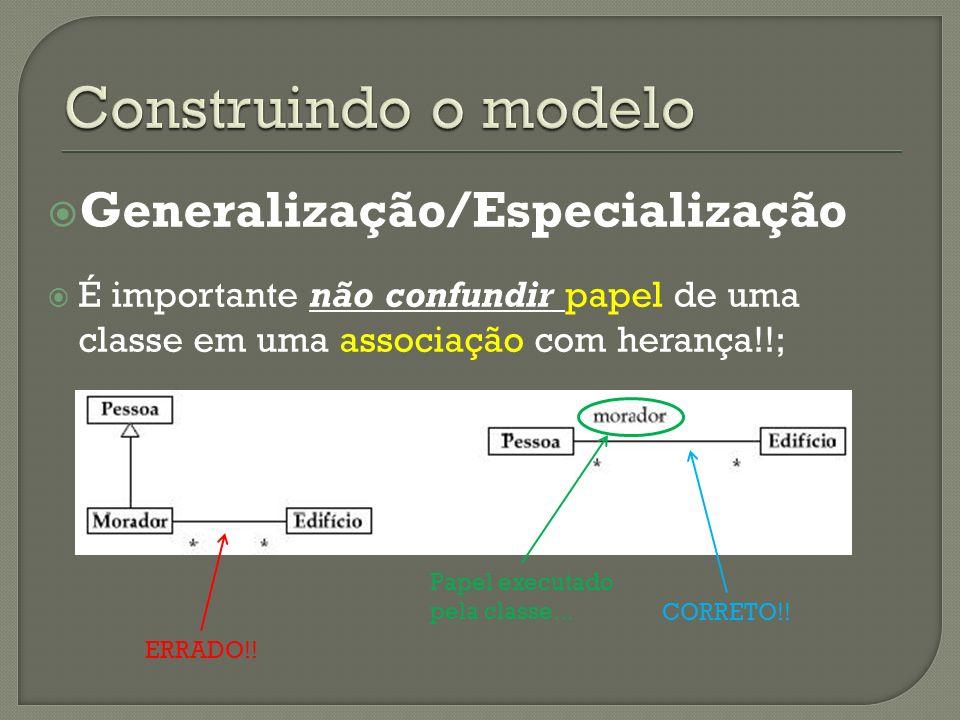Generalização/Especialização É importante não confundir papel de uma classe em uma associação com herança!!; ERRADO!.