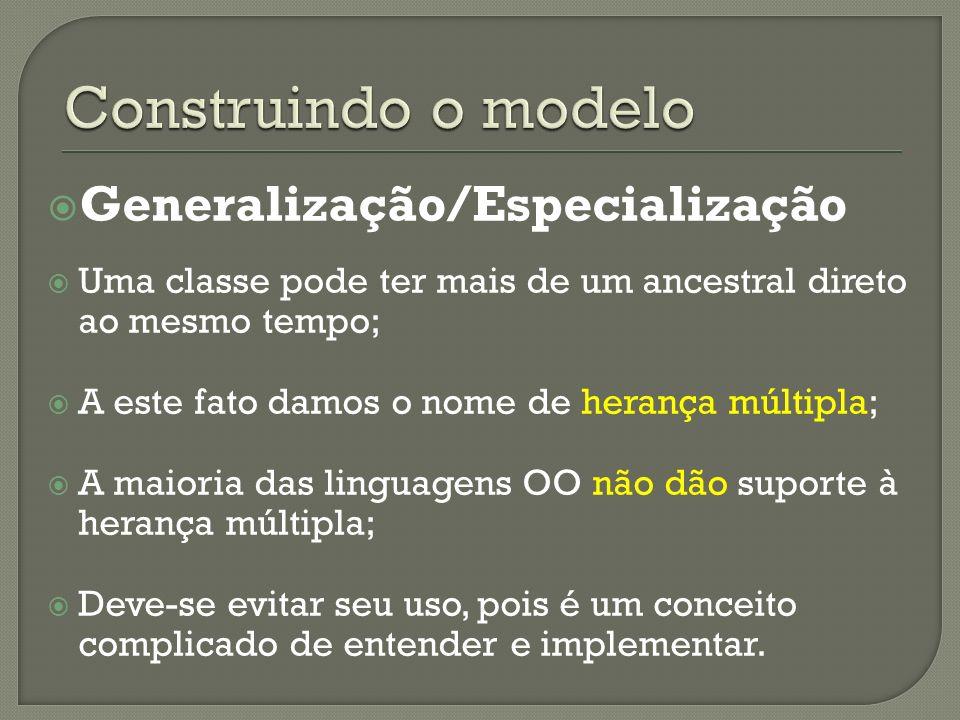 Generalização/Especialização Uma classe pode ter mais de um ancestral direto ao mesmo tempo; A este fato damos o nome de herança múltipla; A maioria d