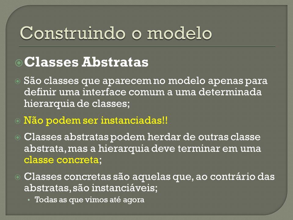 Classes Abstratas São classes que aparecem no modelo apenas para definir uma interface comum a uma determinada hierarquia de classes; Não podem ser instanciadas!.