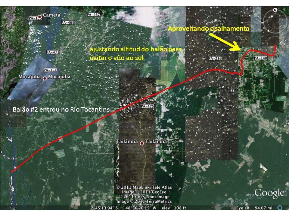 Balão #2 entrou no Rio Tocantins ajustando altitud do balão para evitar o vôo ao sul