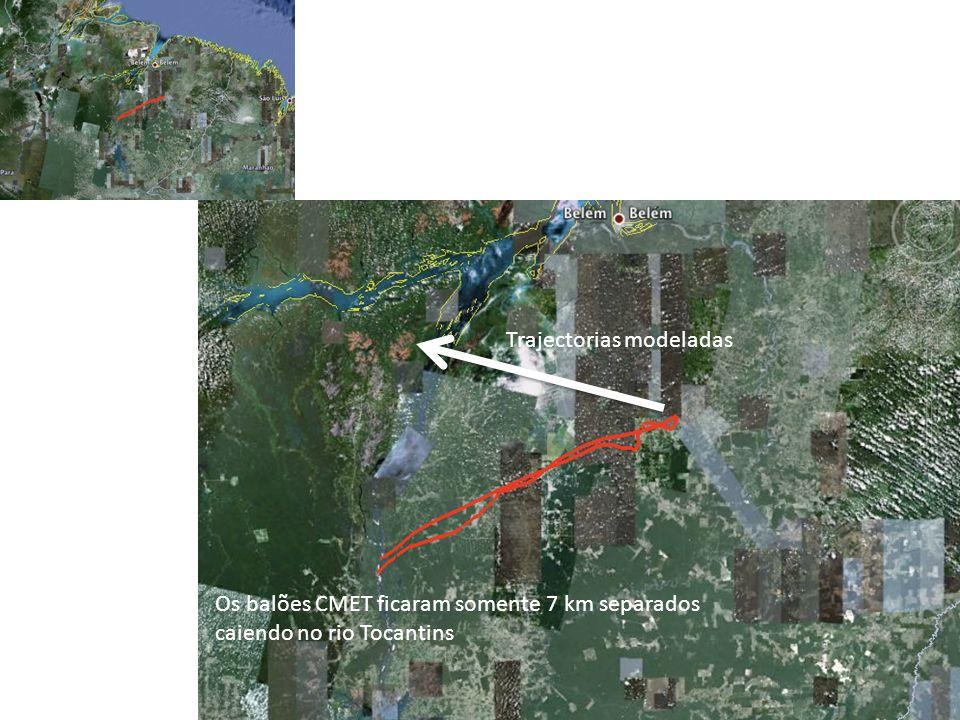 Trajectorias modeladas Os balões CMET ficaram somente 7 km separados caiendo no rio Tocantins