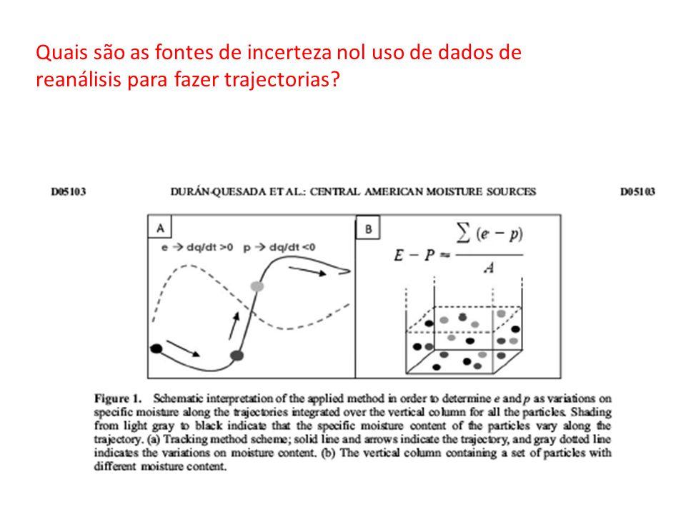 Quais são as fontes de incerteza nol uso de dados de reanálisis para fazer trajectorias