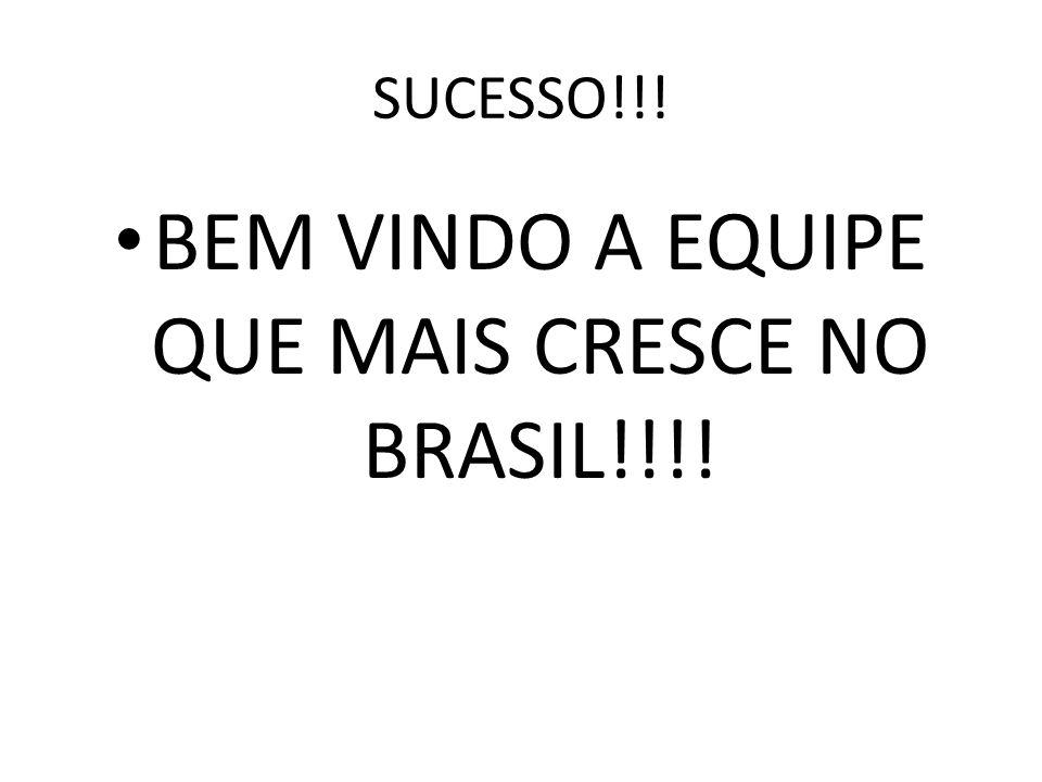 SUCESSO!!! BEM VINDO A EQUIPE QUE MAIS CRESCE NO BRASIL!!!!